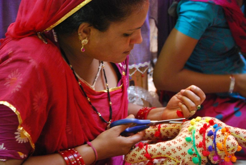 Saraswati working on toy camels