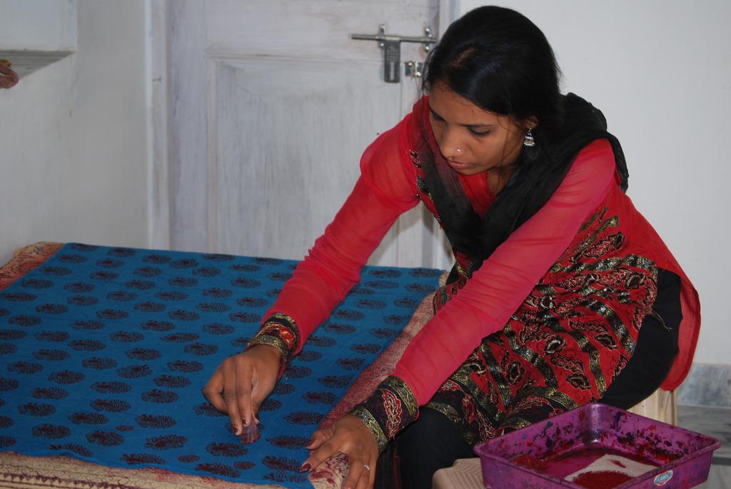 Usha block-printing scarves