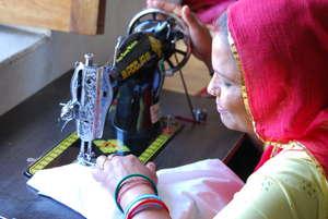 Saraswati learning sewing skills