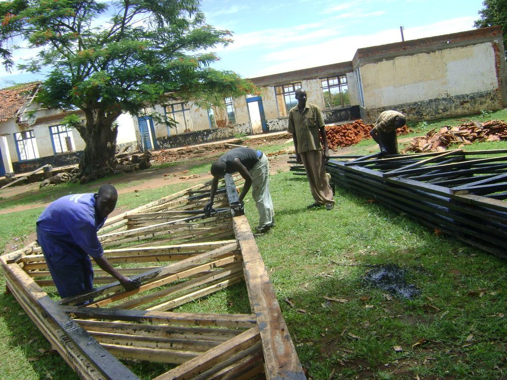 During renovation: Building new roof trusses