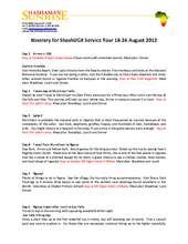 Shash Uganda Service Tour 2013 Itinerary (PDF)
