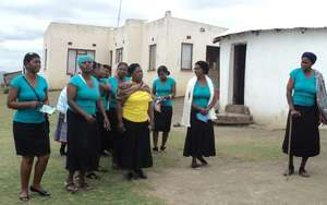 SHG members of Jabulani SHG going to their meeting