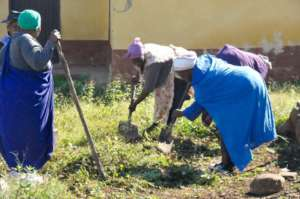 Khazhimula members take care of a patient's garden