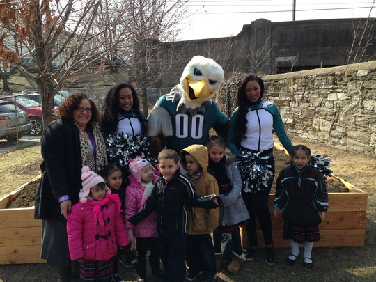 New garden beds, provided by the Phila. Eagles