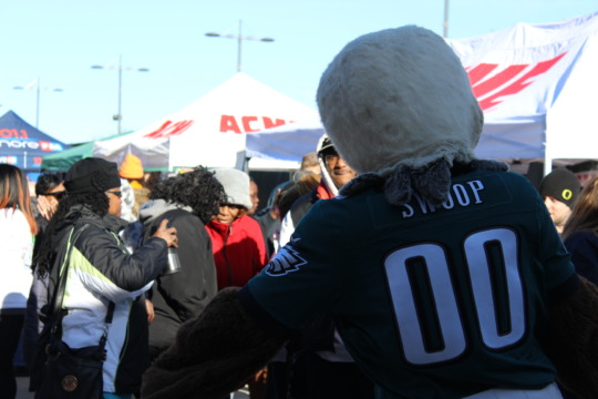 Eagles Mascot SWOOP pumping up the crowd.