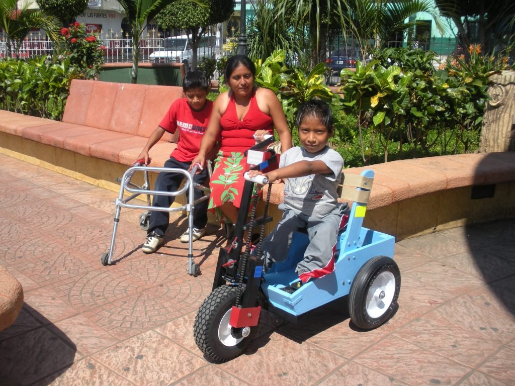 This boy receives a child size PET in Guatemala. When he leaves home, the PET will take him further than his walker.