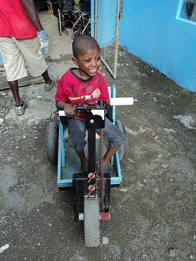 This boy receives a child size PET through Northwest Haiti Christian Mission in KY. The Miriam Center in Haiti is an orphanage for children with mental and physical challenges.  Some children received a crank PET, and others who couldn