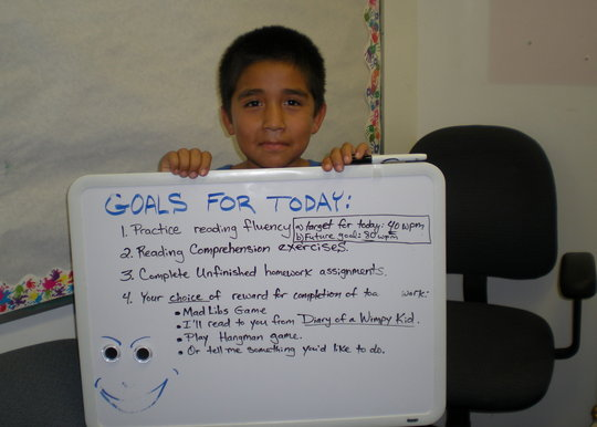 Student with weekly goals