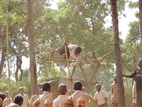 Student practicing for high jump