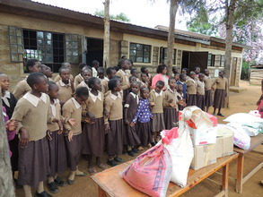 Students receiving critical learning supplies