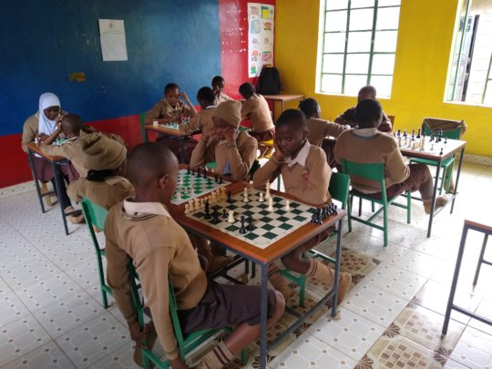 Children Participating in Chess Club