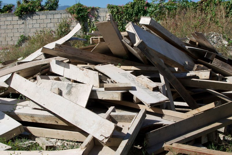 Pile of recycled wood