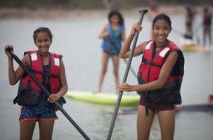 Our girls also practice SUP in the river!