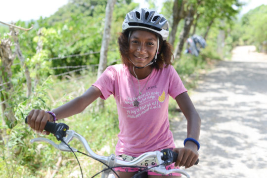 Lorena biking around Cabarete