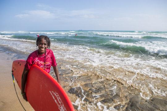 Naomi won the advanced surf group