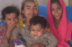 Children in the waiting area of the Gharo facility