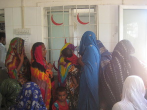Patients at the registration counter