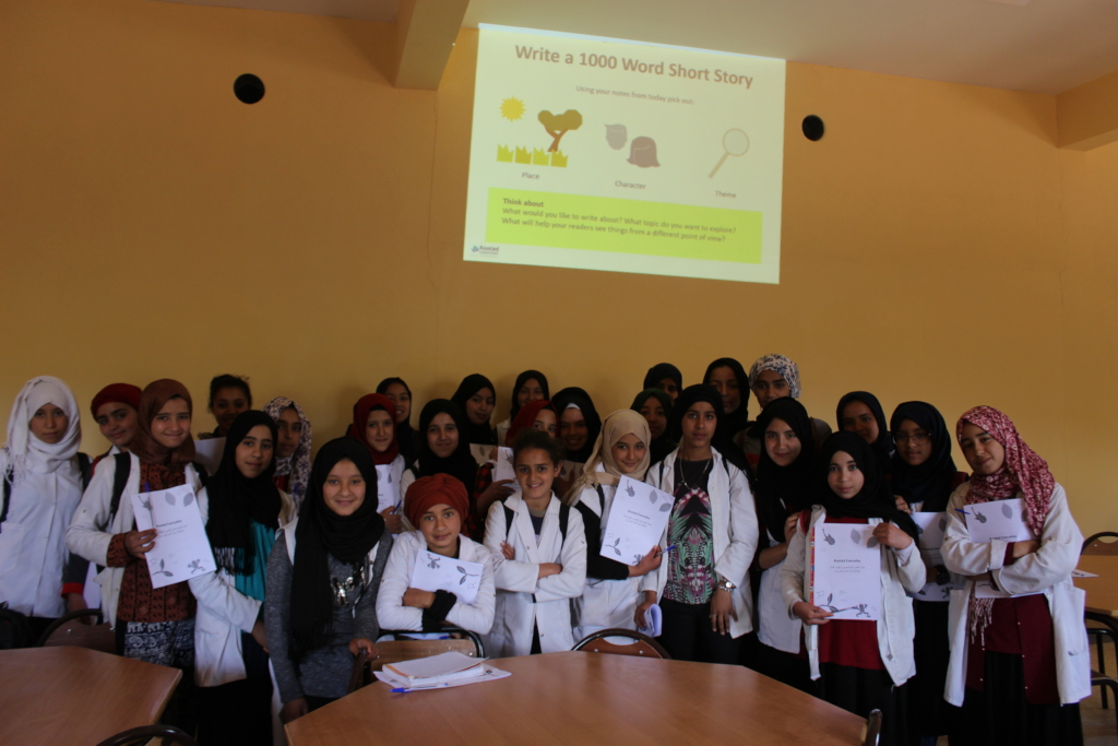 Dar Taliba students during a writing workshop