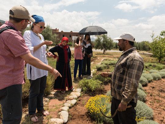 Dr Alain Cuerrier visits herb garden at Dar Taliba