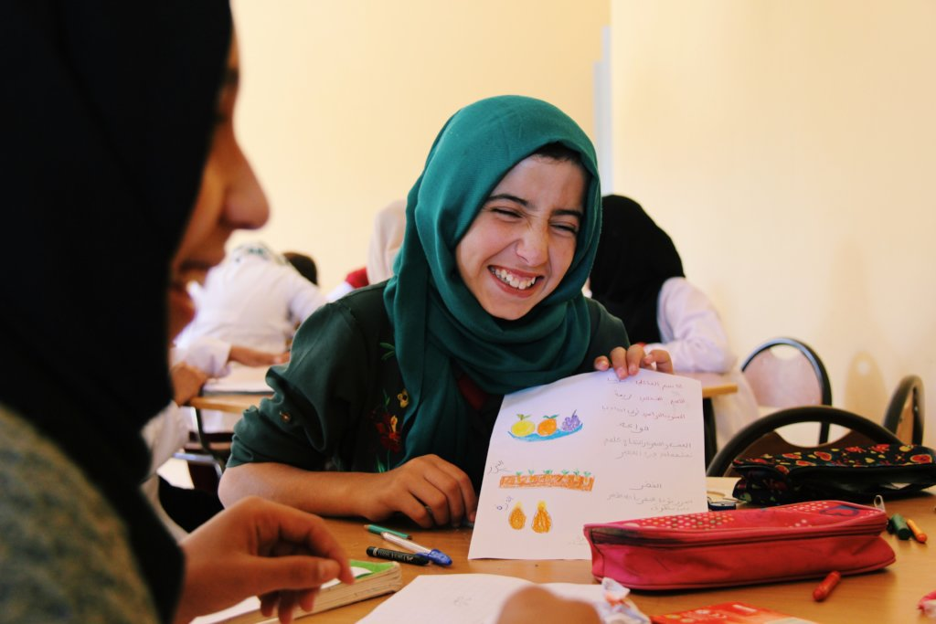 Dar Taliba students having fun while drawing