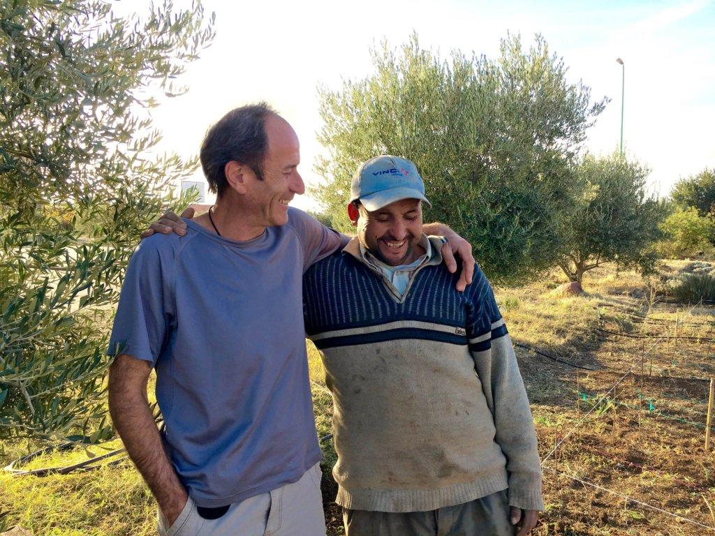 Permaculturist Frederic and gardener Abdelmalek