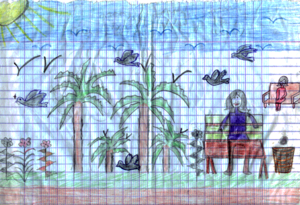 Drawing of a 'perfect school garden'