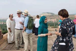Jamila interacting with visitors to Dar Taliba