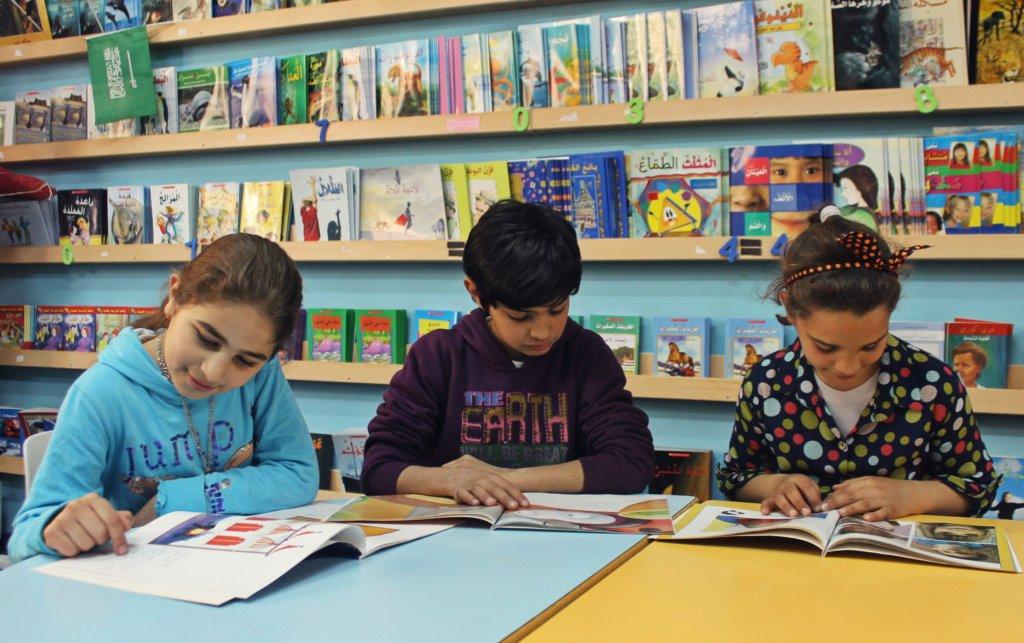 Mariam, Abdul Aziz & Shahd read in the TYO library