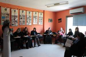 Palestinian women in a recent NEF training session
