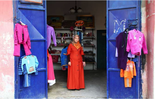 Khadija's clothing shop.