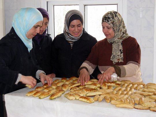 Palestinian women entrepreneurs at their bakery