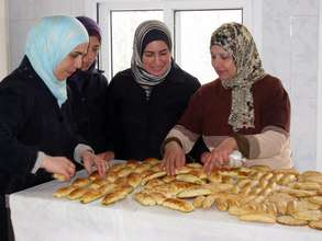 Palestinian women entrepreneurs at their bakery