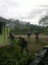 Team placing trees at church lot