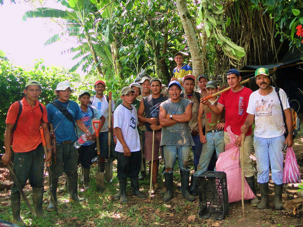 "This is the Maleku planting """"team"""" of 16 indigenous people. The restored 14 hectares to native tropical forest by planting 14,392 trees in only 10 days the first two weeks of June. You can see the pride and pure intention on their faces."