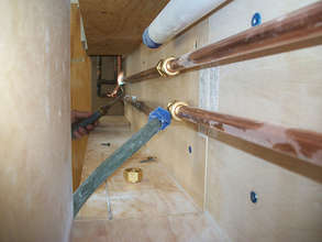 Medical gas pipes being installed