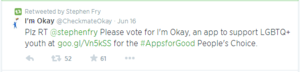 Stephen Fry Supported The I'm Okay App On Twitter