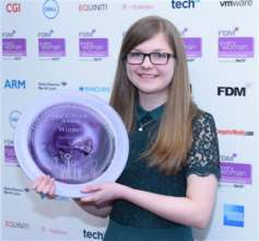 Ellora accepts an FDM Women In Tech award