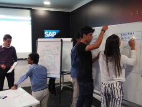 Students plan their solutions at the SAP workshop.