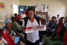 A worker at a clinic in Lesotho