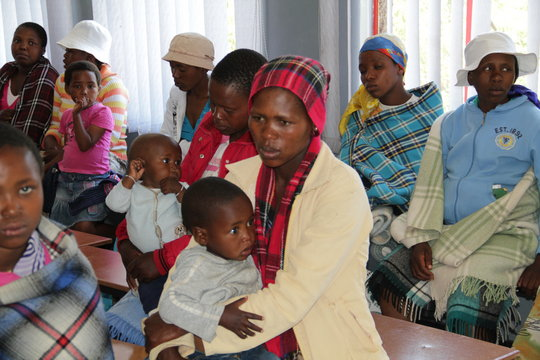 Women wait for services at Lesotho clinic