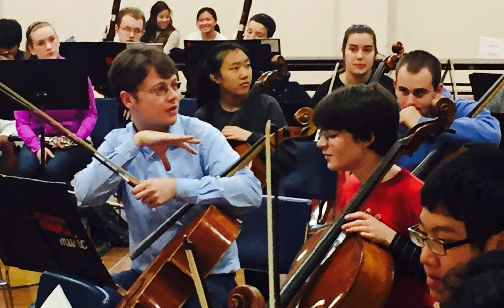 Mihai Marica coaches the cello section at MYS