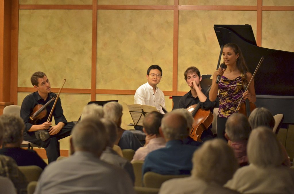 The Dover Quartet performing at a retirement home.