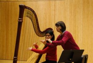 Nancy Allen demonstrates during Harp Masterclass.