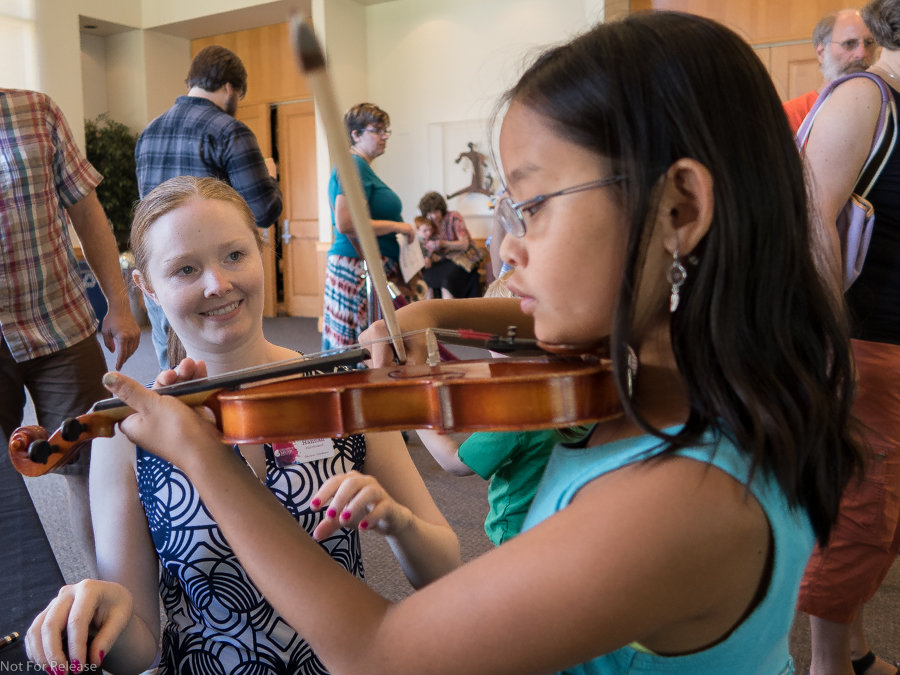 Instrument Petting Zoo prior to Family Concert