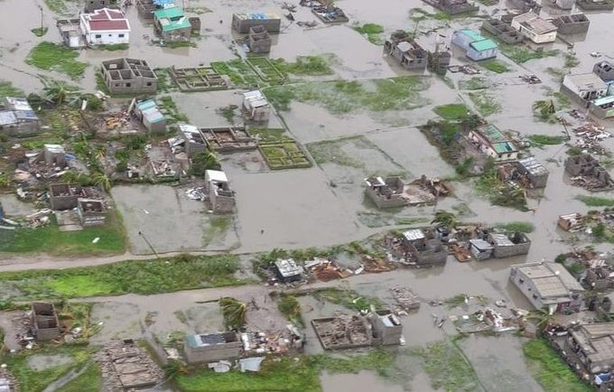 Aerial view of the damage to Beira Sofala province