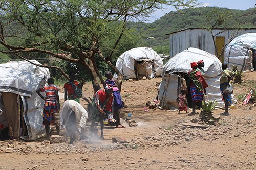 A displacement camp in Chemolingot, Kenya
