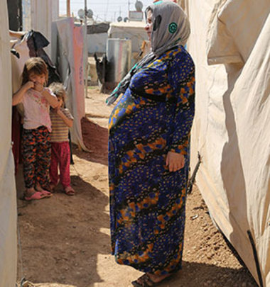 Ruqaya is 9 months pregnant living in Domiz camp