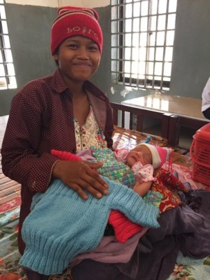 First mother to deliver a baby using birthing kit