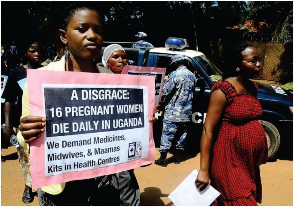 Ugandan woman demonstrating