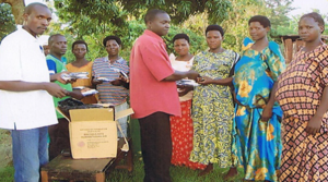 Rotary Club of Makindye distributing kits